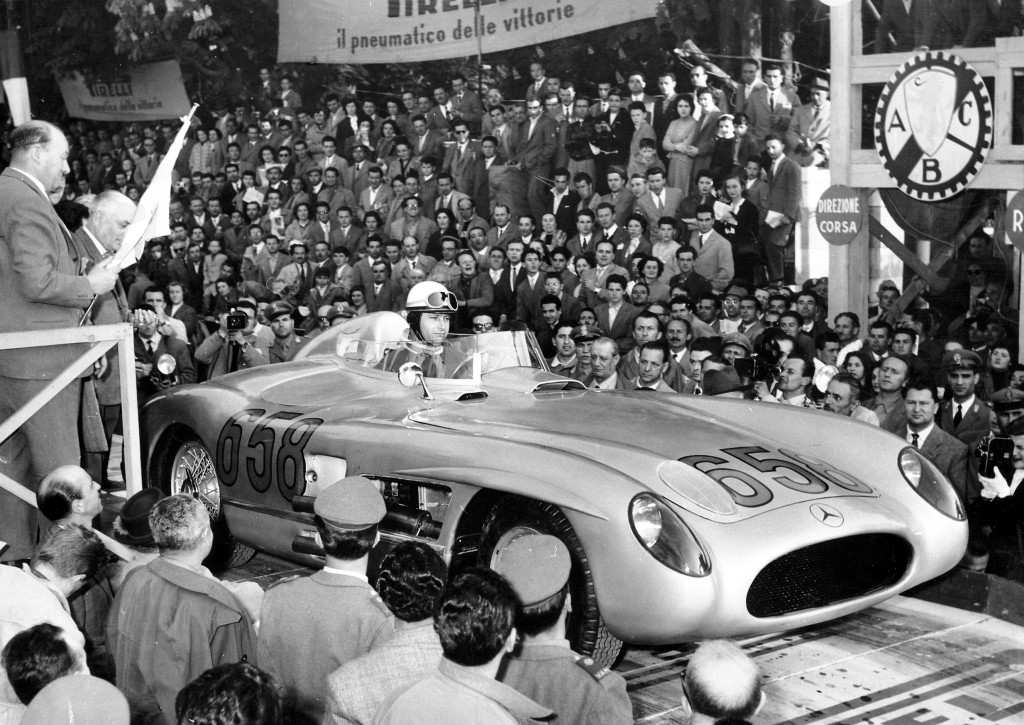 Juan Manual Fangio at the start of the 1955 Mille mMiglia drivinng on his own