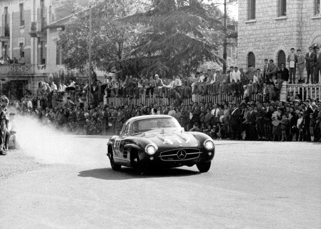 John Fitch and Kurt Gesell winning class at the 1955 Milel Miglia