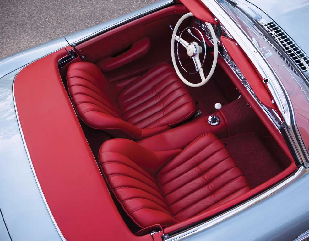 Red leather in the 1957 Nataliw Wood Roadster